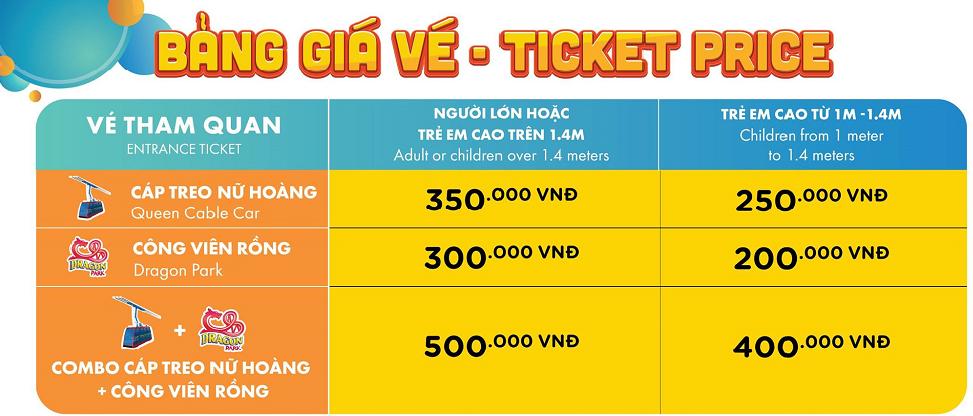 bảng giá vé - ticket sunworld hạ long