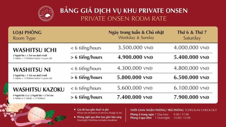 Giá thuê Villa ở Yoko Onsen Quang Hanh Cẩm Phả Quảng Ninh