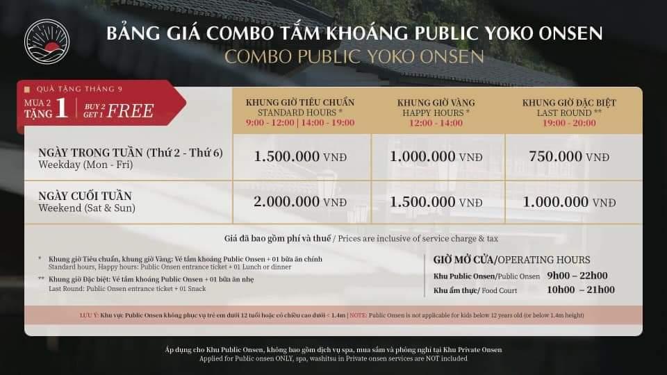 giá vé tháng 9 Onsen quang hanh